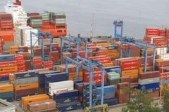 Sikt till lasthavsporten av Valparaiso, Chile Arkivfoton