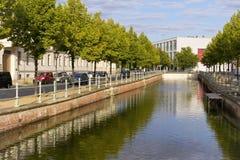 Sikt till lite delen av kanalen, Potsdam Fotografering för Bildbyråer