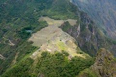 Sikt till Machu Picchu från det Hayna Picchu berget fotografering för bildbyråer