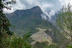 Sikt till Machu Picchu från det Hayna Picchu berget royaltyfri foto