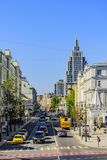 Sikt till Malaya Dmitrovka Street i mitten av huvudstaden moscow russia royaltyfri foto