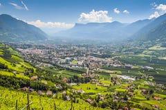 Sikt till Merano södra Tirol Royaltyfria Bilder