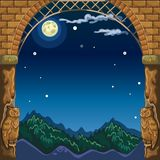 Sikt till och med bågen av stenslotten på nattlandskapet vid ljuset av fullmånen Skissa för kort eller affisch på vektor illustrationer