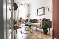 Sikt till och med en öppen glass dörr på en ljus vardagsruminre med blandat stilmöblemang och ett högväxt fönster med rena gardin royaltyfria bilder