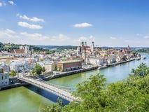 Sikt till Passau Royaltyfria Bilder