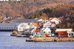 Sikt till port av Tromoy, Norge Royaltyfria Bilder