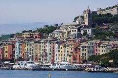Sikt till Portovenere, Italien Arkivbild