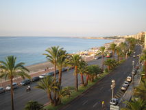 Sikt till Promenade des Anglais i Nice, Frankrike Arkivfoton