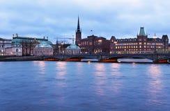 Sikt till Riddarholmen i Stockholm Royaltyfria Foton