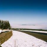Sikt till Skottland från gränsen på en April dag i 1999 Royaltyfri Fotografi