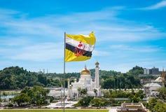 Sikt till Sultan Omar Ali Saifuddin Mosque i Brunei Darussalam Fotografering för Bildbyråer