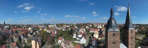 Sikt till två röda torn Rote Spitzen i Altenburg Thüringen Arkivfoton