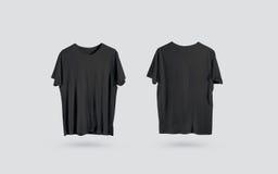 Sikt tom svart t-skjorta för främre och tillbaka sida, designmodell Royaltyfri Foto