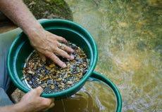 Sikta och klassificera mineralisk rik jord med den guld- panorera classifierpannan Royaltyfria Bilder