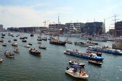 Sikten över IJ-hamn under SEGLAR Amsterdam 2015 Royaltyfria Foton