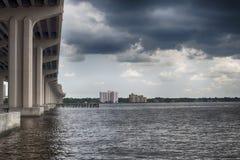 Sikten av åskvädret fördunklar över - vatten Arkivfoto