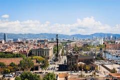 Sikten av Barcelona uppifrån Arkivbild