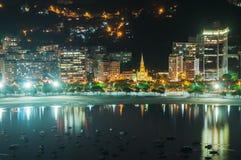 Sikten av Botafogo och Guanabara skäller i Rio de Janeiro Royaltyfri Fotografi