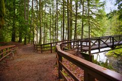 Sikten av bron över engelsmanfloden faller i Vancouver Isla Royaltyfria Bilder