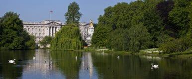 Sikten av Buckingham Palace från St James parkerar i London Royaltyfri Bild