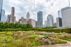 Sikten av Chicago cityscape med skyskrapor från millenium parkerar i den molniga dagen, USA Royaltyfri Bild