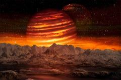 Sikten av den främmande planeten från utrymme under dess två månar stiger stock illustrationer