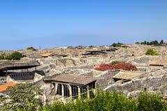 Sikten av den historiska antikviteten fördärvar av staden Pompei fotografering för bildbyråer