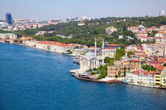 Sikten av den Ortakoy moskén från den Bosphorus bron, Istanbul Arkivbilder