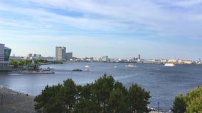 Sikten av den Yokohama fjärden från Ramenmuseum stock video