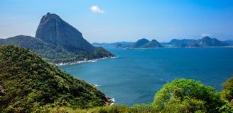 Sikten av det Sugarloaf berget från forte- gör Leme, Rio de Janeiro, Brasilien royaltyfri bild