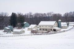 Sikten av en snö täckte lantgården nära ny frihet, Pennsylvania Royaltyfria Foton