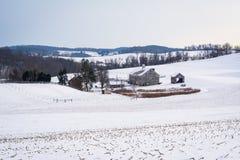 Sikten av en snö täckte lantgården och Rolling Hills, nära Shrewsbury, Royaltyfri Foto