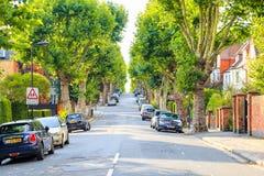 Sikten av en treelined stigande gata med skolbarn undertecknar i västra Hampstead av London royaltyfria bilder