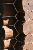 Sikten av föreningspunkten av stort loggar in ett gammalt trähus royaltyfri bild