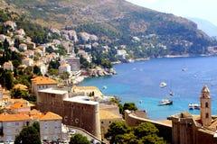 Sikten av fjärden av Dubrovnik, Kroatien Arkivfoton