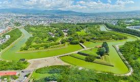 Sikten av Goryokaku parkerar, var är ett stjärnafort i Hakodate, Hokkai Royaltyfri Fotografi