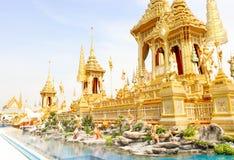 Sikten av guld- härligt av några tillagda strukturer runt om den kungliga krematoriet på November 04, 2017 Royaltyfri Fotografi
