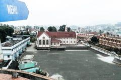 Sikten av Jawaharlal Nehru Stadium Shillong, är en fotbollsarena i Shillong, Meghalaya, Indien främst för fotboll och värdar royaltyfri foto