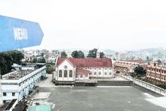 Sikten av Jawaharlal Nehru Stadium Shillong, är en fotbollsarena i Shillong, Meghalaya, Indien främst för fotboll och värdar arkivbilder
