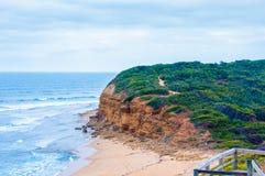 Sikten av Klockor sätter på land på den stora havvägen, det Victoria tillståndet, Australien Arkivfoton