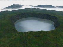 Sikten av krater fyllde med vatten och himlen Arkivfoto