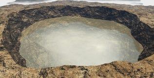 Sikten av krater fyllde med vatten utan himlen Royaltyfria Foton