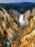Sikten av lägre nedgångar från rött vaggar punkt, Grand Canyon av Yellowstonet River, Yellowstone nationalparken, Wyoming, USA Arkivbild