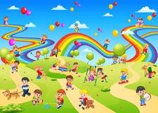 Sikten av lekplatsen mycket av barnen som palying på den stock illustrationer