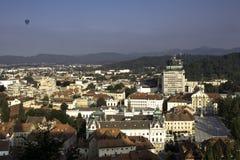 Sikten av Ljubljana och kongressen kvadrerar från över Fotografering för Bildbyråer