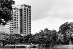 Sikten av Lumphini parkerar över dammet, Bangkok Arkivfoto