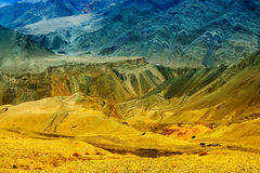 Sikten av Moonland, Lamayuru, Ladakh, Jammu and Kashmir, Indien arkivfoton