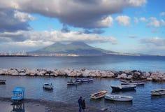 Sikten av Mount Vesuvius Arkivfoto