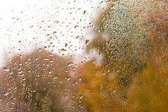 Sikten av regndroppar på fönster med det gröna, röda och gula färgträdet i bakgrund Autumn Abstract gjorde suddig bakgrunden fotografering för bildbyråer