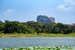 Sikten av Sigiriya vaggar eller Lion Rock i Sri Lanka royaltyfria foton